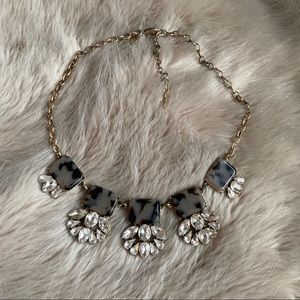 J. Crew Grey Tortoise Shell Statement Necklace